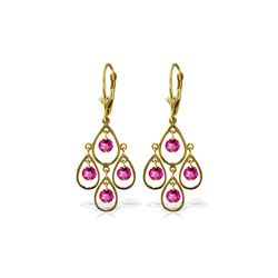 Genuine 2.4 ctw Pink Topaz Earrings 14KT Yellow Gold - REF-55Z5N