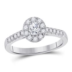1/5 CTW Oval Diamond Solitaire Bridal Wedding Engagement Ring 14kt White Gold - REF-60T3K