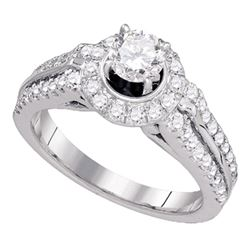 1 & 1/4 CTW Round Diamond Solitaire Bridal Wedding Engagement Ring 14kt White Gold - REF-179H9W