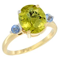 2.64 CTW Lemon Quartz & Blue Sapphire Ring 10K Yellow Gold - REF-23K7W