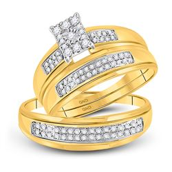 3/8 CTW His & Hers Round Diamond Cluster Matching Bridal Wedding Ring 10kt Yellow Gold - REF-34K8R
