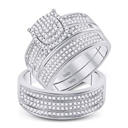 3/4 CTW His & Hers Round Diamond Cluster Matching Bridal Wedding Ring 10kt White Gold - REF-87A5N