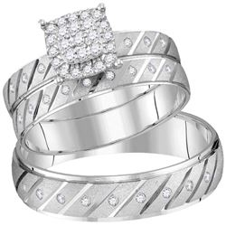 1/3 CTW His & Hers Round Diamond Cluster Matching Bridal Wedding Ring 14kt White Gold - REF-63H3W