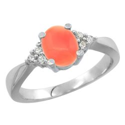 0.06 CTW Diamond & Natural Coral Ring 10K White Gold - REF-28X2M