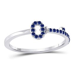 1/5 CTW Round Blue Sapphire Key Stackable Ring 10kt White Gold - REF-10W8F