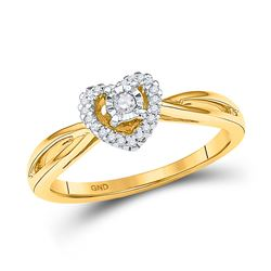 1/8 CTW Round Diamond Heart Solitaire Ring 10kt Yellow Gold - REF-18M3A