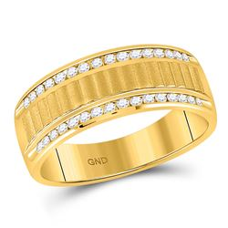 1/3 CTW Mens Round Diamond Double Row Matte Textured Wedding Ring 14kt Yellow Gold - REF-60M3A