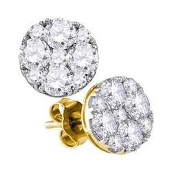 1 & 7/8 CTW Round Diamond Cluster Earrings 10kt Yellow Gold - REF-197F9M