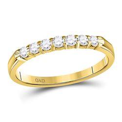 1/4 CTW Round Diamond Single Row Comfort Wedding Ring 14kt Yellow Gold - REF-26R3H
