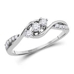 1/5 CTW Round Diamond 3-stone Promise Bridal Ring 10kt White Gold - REF-19F2M