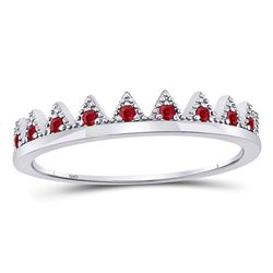 1/10 CTW Round Ruby Beaded Chevron Stackable Ring 10kt White Gold - REF-9M6A