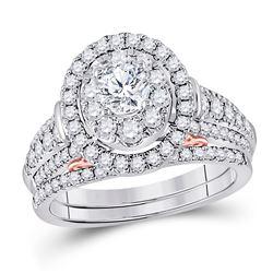 1 & 1/2 CTW Round Diamond Bridal Wedding Engagement Ring 14kt Two-tone Gold - REF-179T9K
