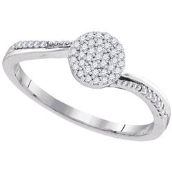 1/6 CTW Round Diamond Concentric Circle Cluster Ring 10kt White Gold - REF-13F2M