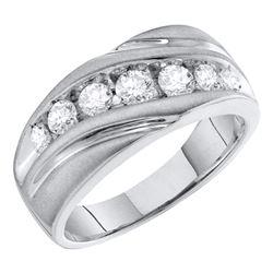 1 CTW Mens Round Channel-set Diamond Single Row Wedding Ring 10kt White Gold - REF-77T9K