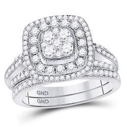 1 CTW Round Diamond Bridal Wedding Engagement Ring 14kt White Gold - REF-101R9H