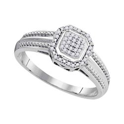 1/10 CTW Round Diamond Square Cluster Bridal Wedding Engagement Ring 10kt White Gold - REF-15F5M
