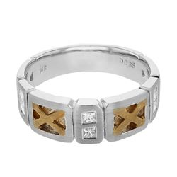0.39 CTW Princess Diamond Ring 14K 2Tone Gold - REF-102K9W