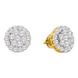 2 CTW Round Diamond Flower Cluster Screwback Earrings 14kt Yellow Gold - REF-117R5H