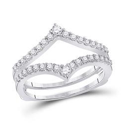 1/2 CTW Round Diamond Ring 14kt White Gold - REF-41N9Y