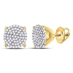 1/3 CTW Round Diamond Circle Cluster Stud Earrings 10kt Yellow Gold - REF-20X9T
