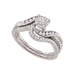 1/2 CTW Princess Diamond Bridal Wedding Engagement Ring 14kt White Gold - REF-57A5N