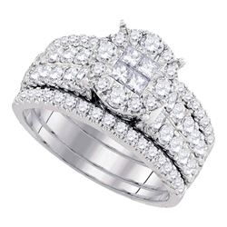1 & 1/2 CTW Princess Diamond Bridal Wedding Engagement Ring 14kt White Gold - REF-137Y9X