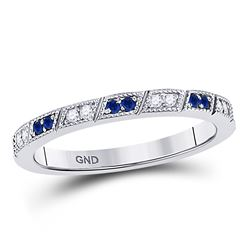 1/4 CTW Round Blue Sapphire Diamond Milgrain Stackable Ring 10kt White Gold - REF-18T3K