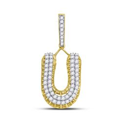 1 & 1/4 CTW Mens Round Diamond U Letter Charm Pendant 10kt Yellow Gold - REF-69R6H