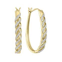 1/5 CTW Round Diamond Oblong Hoop Earrings 10kt Yellow Gold - REF-25K5R
