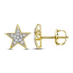 1/20 CTW Round Diamond Star Earrings 10kt Yellow Gold - REF-7T8K