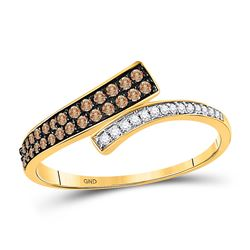1/4 CTW Round Brown Diamond Bypass Ring 10kt Yellow Gold - REF-14T4K