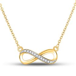 1/20 CTW White Round Diamond Infinity Love Pendant 10kt Yellow Gold - REF-11H9W