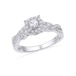 1/2 CTW Round Diamond Solitaire Twist Bridal Wedding Engagement Ring 10kt White Gold - REF-39W6F