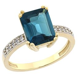 3.70 CTW London Blue Topaz & Diamond Ring 14K Yellow Gold - REF-41K2W