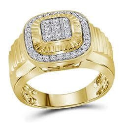 3/4 CTW Mens Round Diamond Square Frame Cluster Ribbed Ring 10kt Yellow Gold - REF-69H3W