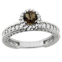 0.91 CTW Quartz & Diamond Ring 14K White Gold - REF-65F9N