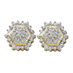 1/10 CTW Round Diamond Hexagon Geometric Cluster Earrings 10kt Yellow Gold - REF-24R3H