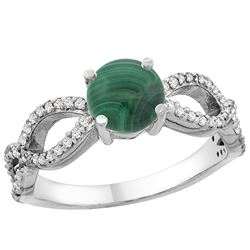 2.43 CTW Malachite & Diamond Ring 14K White Gold - REF-49A5X