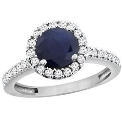 1.43 CTW Blue Sapphire & Diamond Ring 10K White Gold - REF-110K4W