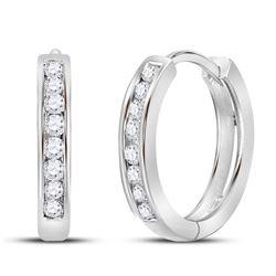 1/4 CTW Round Diamond Hoop Earrings 14kt White Gold - REF-24H3W