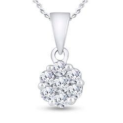 3/4 CTW Round Diamond Flower Cluster Pendant 14kt White Gold - REF-60H3W