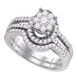 3/4 CTW Round Diamond Cluster Bridal Wedding Engagement Ring 10kt White Gold - REF-47X9T
