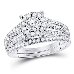 7/8 CTW Round Diamond Bridal Wedding Engagement Ring 10kt White Gold - REF-71M9A
