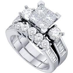 2 CTW Princess Diamond Cluster Bridal Wedding Engagement Ring 14kt White Gold - REF-203F9M