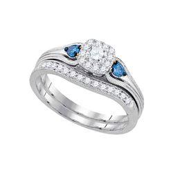 1/2 CTW Round Diamond Bridal Wedding Engagement Ring 14kt White Gold - REF-54A3N