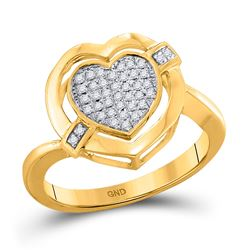 1/6 CTW Round Diamond Heart Cluster Ring 10kt Yellow Gold - REF-15K5R