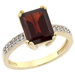 3.70 CTW Garnet & Diamond Ring 10K Yellow Gold - REF-33Y6V