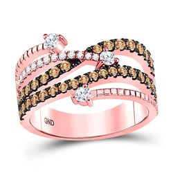 1 CTW Round Brown Diamond Crossover Fashion Ring 10kt Rose Gold - REF-60W3F