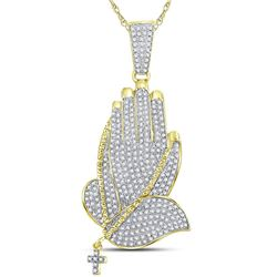 7/8 CTW Mens Round Diamond Praying Hands Rosary Charm Pendant 10kt Yellow Gold - REF-57A3N