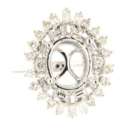 0.94 CTW Diamond Semi Mount Ring 14K White Gold - REF-109F6N